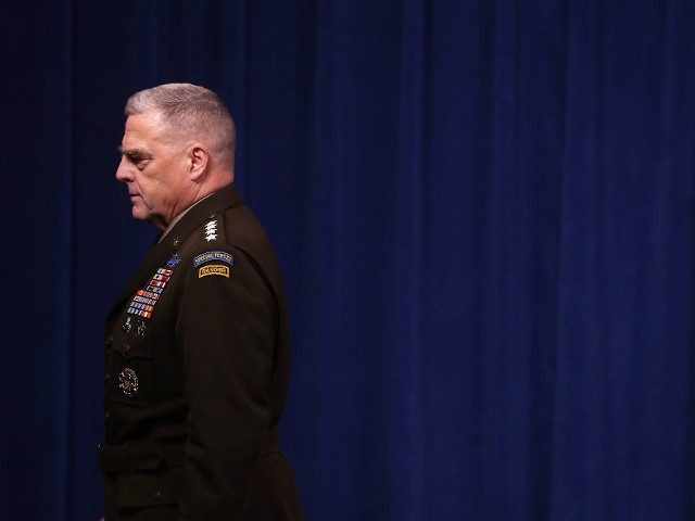 ARLINGTON, VIRGINIA - OCTOBER 28: U.S. Chairman of the Joint Chiefs of Staff Gen. Mark Milley leaves a news conference at the Pentagon the day after it was announced that Abu Bakr al-Baghdadi was killed in a U.S. raid in Syria October 28, 2019 in Arlington, Virginia. The leader and …