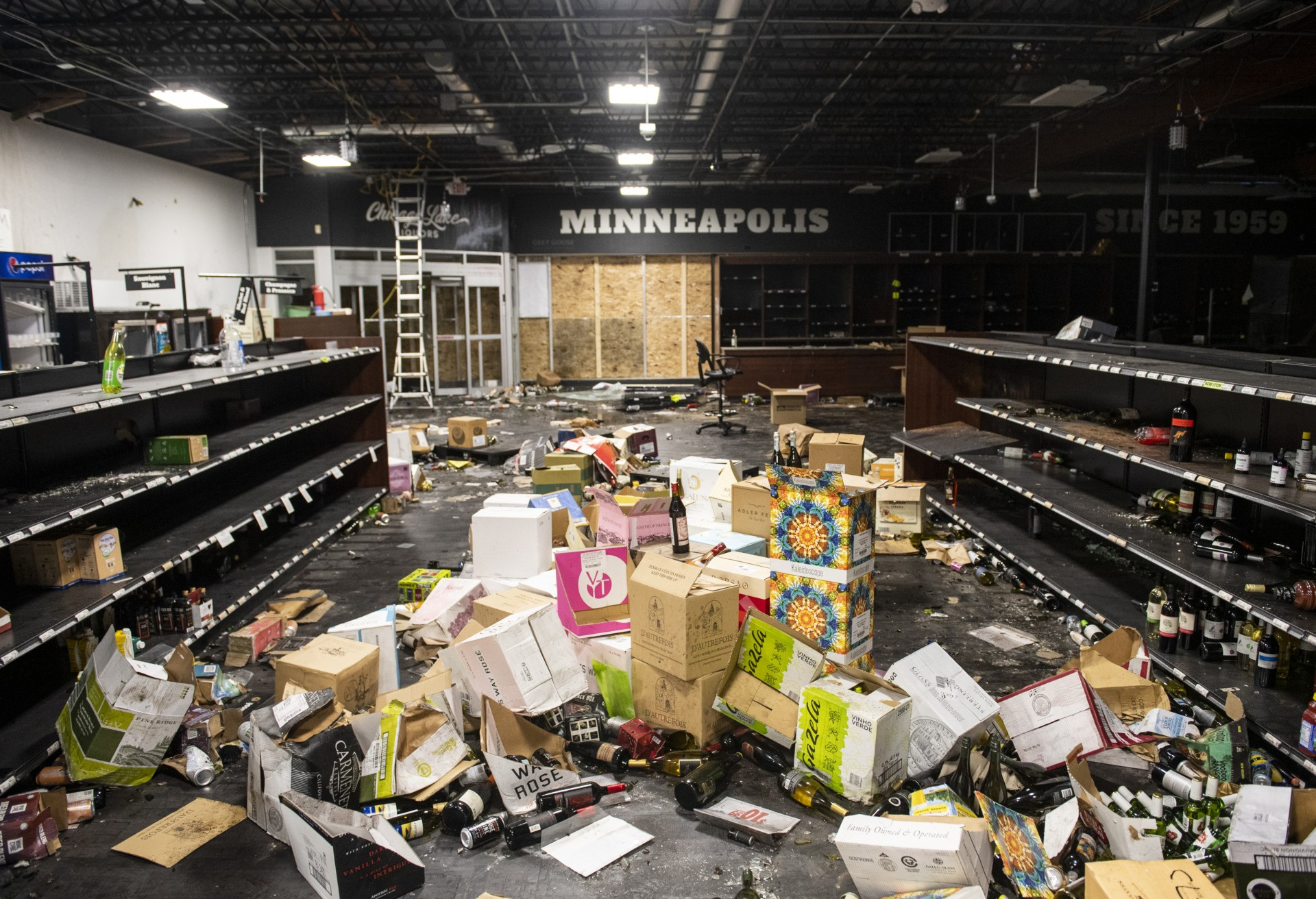 MINNEAPOLIS, MN - JUNE 05: A view of the damage inside Chicago Lake Liquors after it was looted during the protests and riots which followed the death of George Floyd on June 5, 2020 in Minneapolis, Minnesota. All of the merchandise left in the store will be destroyed due to smoke damage. (Photo by Stephen Maturen/Getty Images)
