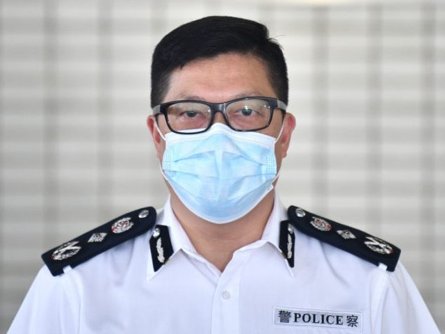 Commissioner of the Hong Kong Police, Chris Tang, speaks to the media at the Marine Police Headquarters in Hong Kong on August 27, 2020. (Photo by Anthony WALLACE / AFP) (Photo by ANTHONY WALLACE/AFP via Getty Images)
