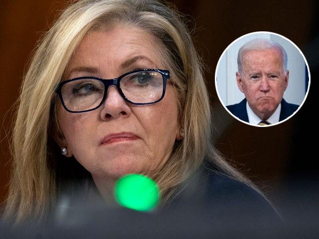 (INSET: Joe Biden) WASHINGTON, DC - OCTOBER 14: U.S. Sen. Marsha Blackburn (R-TN) looks on during testimony by Supreme Court nominee Amy Coney Barrett in front of the Senate Judiciary Committee on the third day of Barrett's confirmation hearing on Capitol Hill on October 14, 2020 in Washington, DC. Barrett …