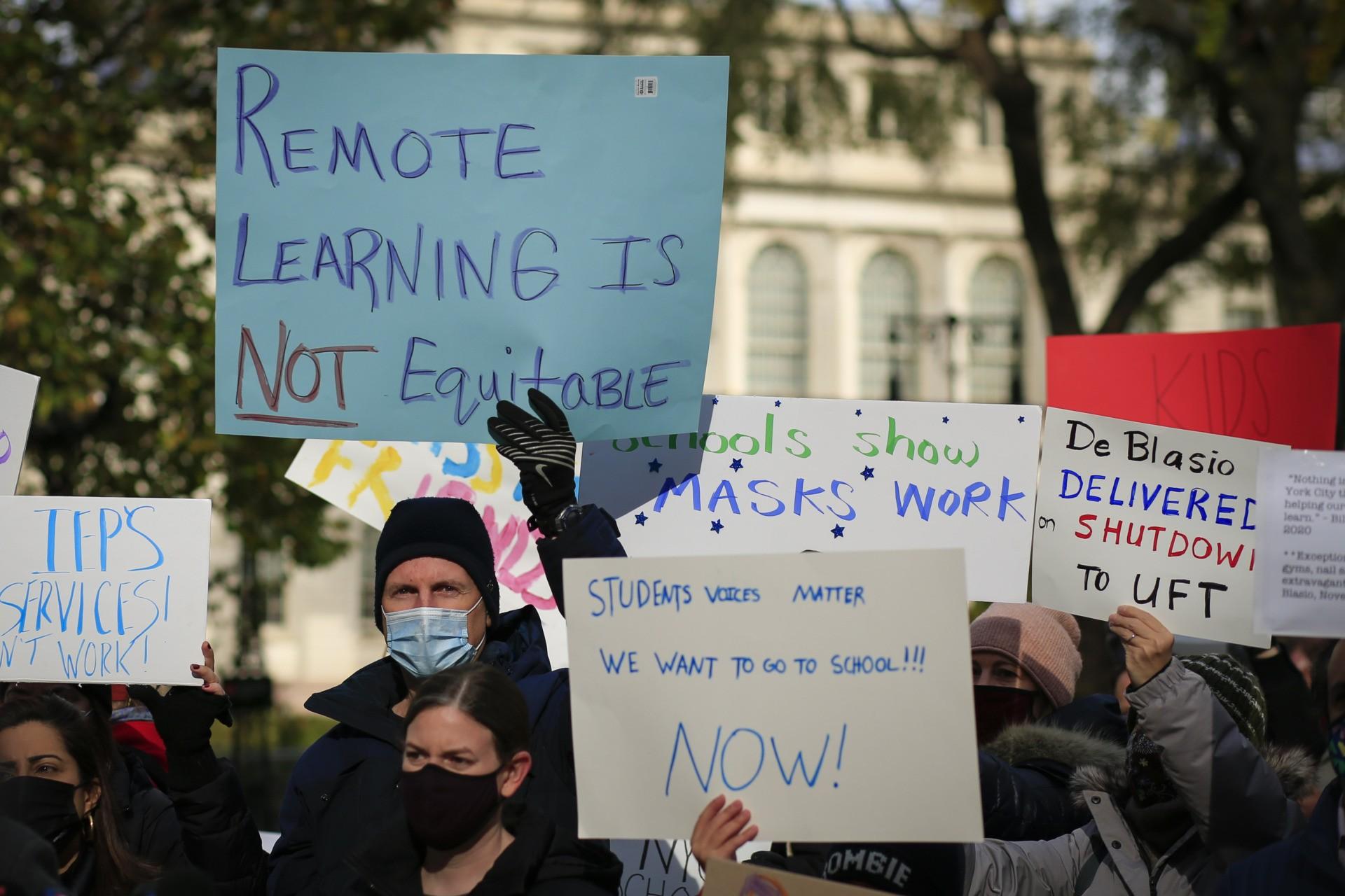 Parents protest demanding that public schools remain open, outside New York