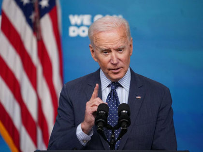 US President Joe Biden speaks on Covid-19 response and vaccinations in the South Court Auditorium of the Eisenhower Executive Office Building, next to the White House, in Washington, DC, on June 2, 2021. (Photo by MANDEL NGAN / AFP) (Photo by MANDEL NGAN/AFP via Getty Images)