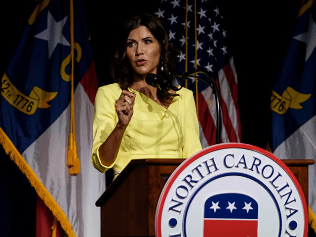 South Dakota Gov. Kristi Noem speaks to attendees at the North Carolina GOP convention on June 5, 2021 in Greenville, North Carolina. Former U.S. President Donald Trump is scheduled to speak at the NCGOP state convention in one of his first high-profile public appearances since leaving the White House in …