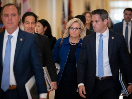 WASHINGTON, DC - JULY 27: (L-R) Rep. Adam Schiff (D-CA), Rep. Jamie Raskin (D-MD), Rep. Liz Cheney (R-WY) and Rep. Adam Kinzinger (R-IL) arrive for the House Select Committee hearing investigating the January 6 attack on the U.S. Capitol on July 27, 2021 at the Cannon House Office Building in …