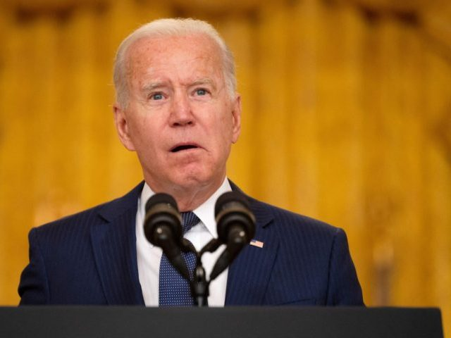 US President Joe Biden delivers remarks on the terror attack at Hamid Karzai International Airport, and the US service members and Afghan victims killed and wounded, in the East Room of the White House, Washington, DC on August 26, 2021. (Photo by Jim WATSON / AFP) (Photo by JIM WATSON/AFP …