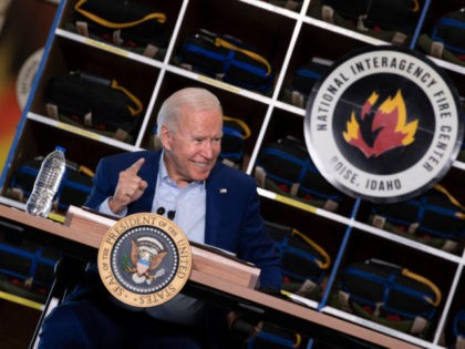 US President Joe Biden speaks during a briefing at the National Interagency Fire Center at Boise Airport on September 13, 2021, in Boise, Idaho. - US President Joe Biden kicked off a visit to scorched western states Monday to hammer home his case on climate change and big public investments, …