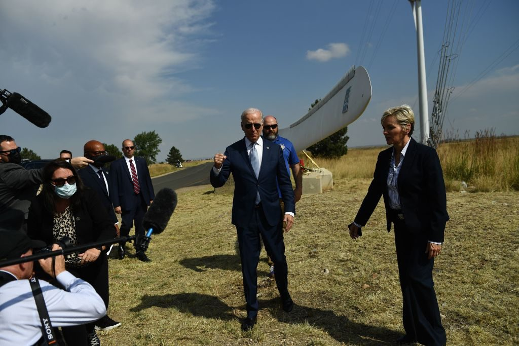 U.S. President Joe Biden (C) and Energey Secretary Jennifer Granholm (R) tour the National Renewable Energy Laboratory in Arvada, Colorado, on September 14, 2021. (BRENDAN SMIALOWSKI/AFP via Getty Images)