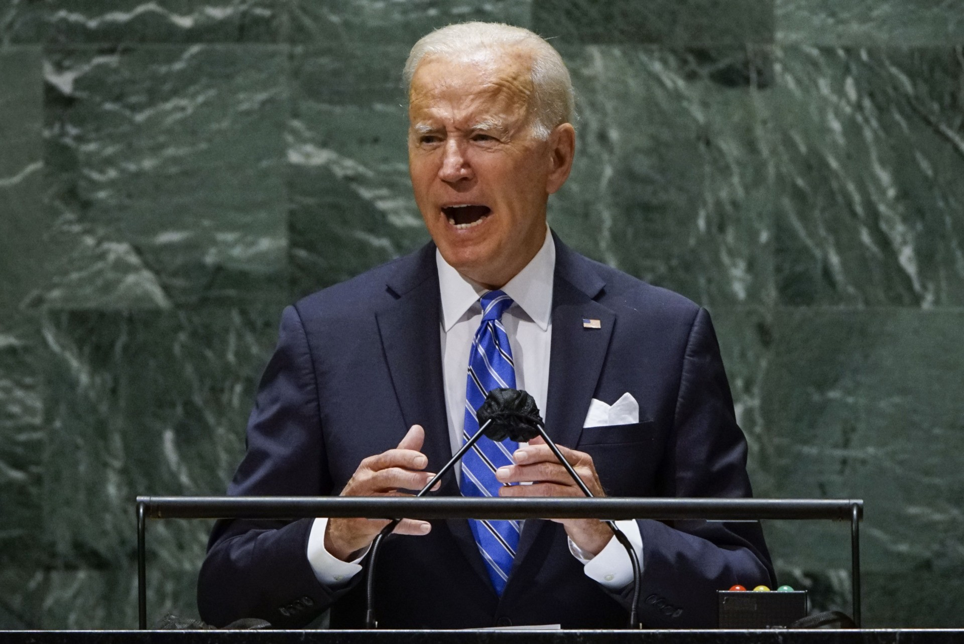 NEW YORK, NEW YORK - SEPTEMBER 21: U.S. President Joe Biden addresses the 76th Session of the U.N. General Assembly on September 21, 2021 at U.N. headquarters in New York City. More than 100 heads of state or government are attending the session in person, although the size of delegations is smaller due to the Covid-19 pandemic. (Photo by Eduardo Munoz-Pool/Getty Images)