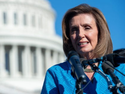 """US Speaker of the House Nancy Pelosi, Democrat of California, speaks at a news conference on the """"Women's Health Protection Act,"""" on September 24, 2021, outside the US Capitol in Washington DC. - The act would establish a federally protected right to abortion access. (Photo by SAUL LOEB / AFP) …"""