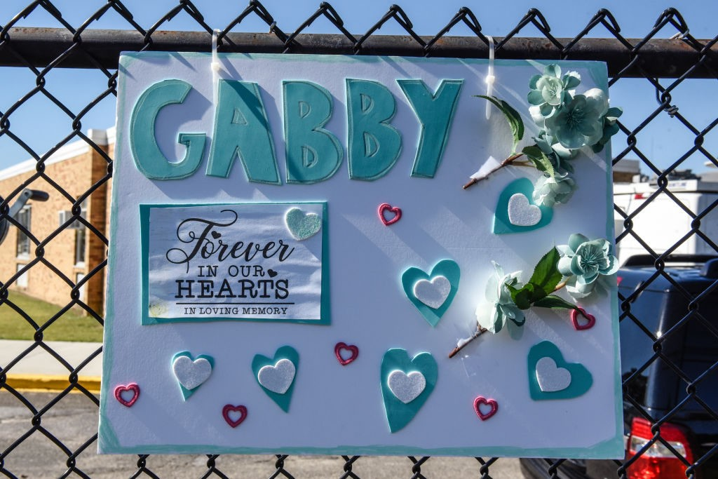 HOLBROOK, NY - SEPTEMBER 26: A sign for Gabby Petito is seen outside of a funeral home on September 26, 2021 in Holbrook, New York. As the search continues into a second week in Florida to find Brian Laundrie, who is a person of interest, the family of Gabby Petito holds a public funeral in her hometown of Long Island. (Photo by Stephanie Keith/Getty Images)