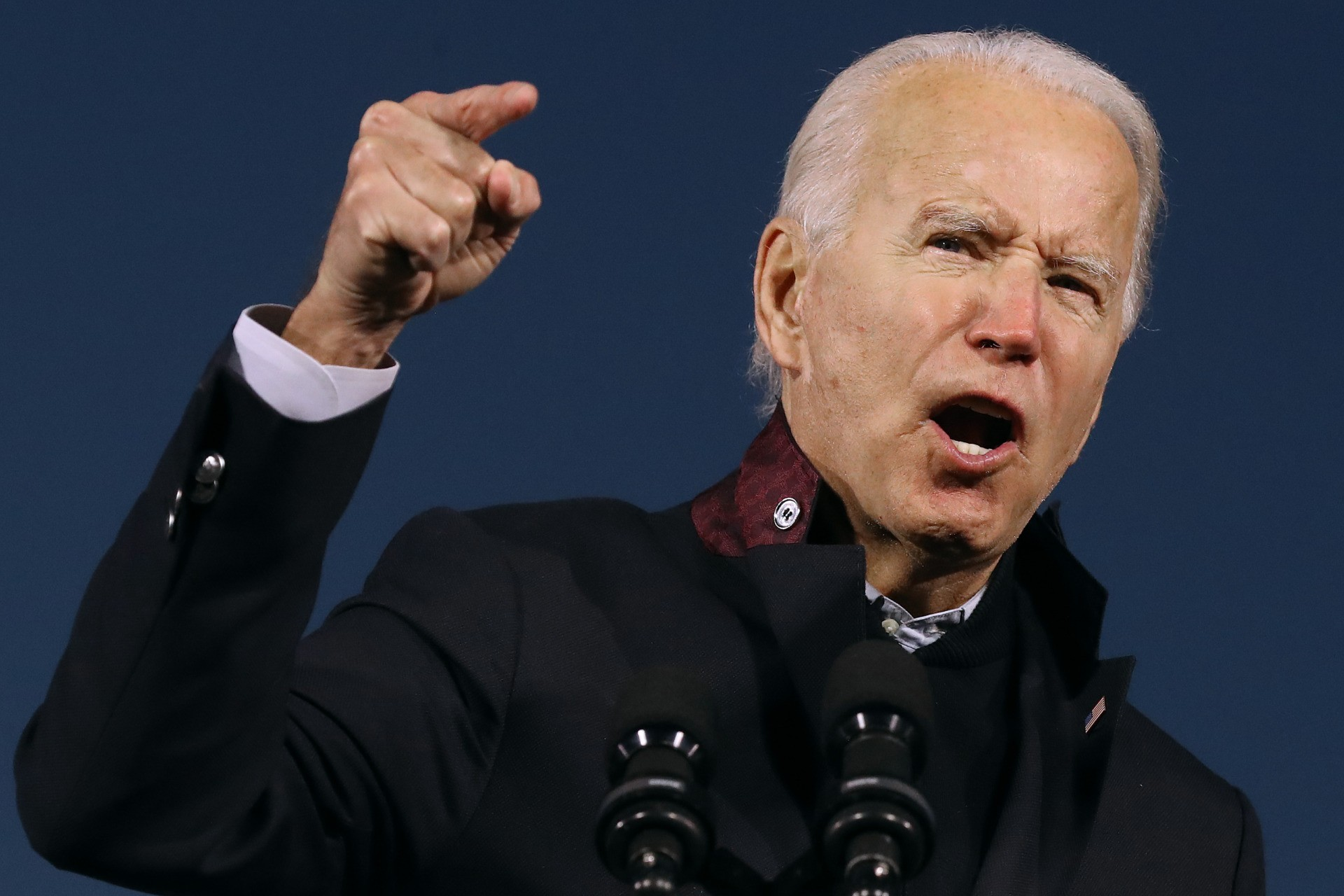 NOVI, MICHIGAN - OCTOBER 16: Democratic presidential nominee Joe Biden addresses a drive-in campaign rally at the Michigan State Fairgrounds October 16, 2020 in Novi, Michigan. With 18 days until the election, Biden is campaigning in Michigan, a state President Donald Trump won in 2016 by less than 11,000 votes, the narrowest margin of victory in the state's presidential election history. (Photo by Chip Somodevilla/Getty Images)