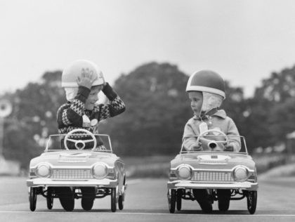 Two young contestants in the Children's Junior Grand Prix at Crystal Palace, London, 5th June 1966. (Photo by Potter/Express/Hulton Archive/Getty Images)