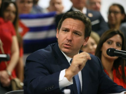 MIAMI, FLORIDA - JULY 13: Florida Gov. Ron DeSantis takes part in a roundtable discussion about the uprising in Cuba at the American Museum of the Cuba Diaspora on July 13, 2021 in Miami, Florida. Thousands of people took to the streets in Cuba on Sunday to protest against the …