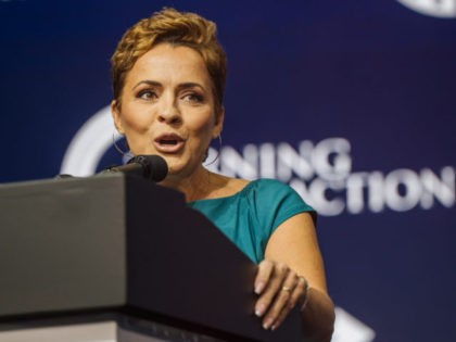 PHOENIX, ARIZONA - JULY 24: Former Fox News Anchor Kari Lake speaks during the Rally To Protect Our Elections conference on July 24, 2021 in Phoenix, Arizona. The Phoenix-based political organization Turning Point Action hosted former President Donald Trump alongside GOP Arizona candidates who have begun candidacy for government elected …
