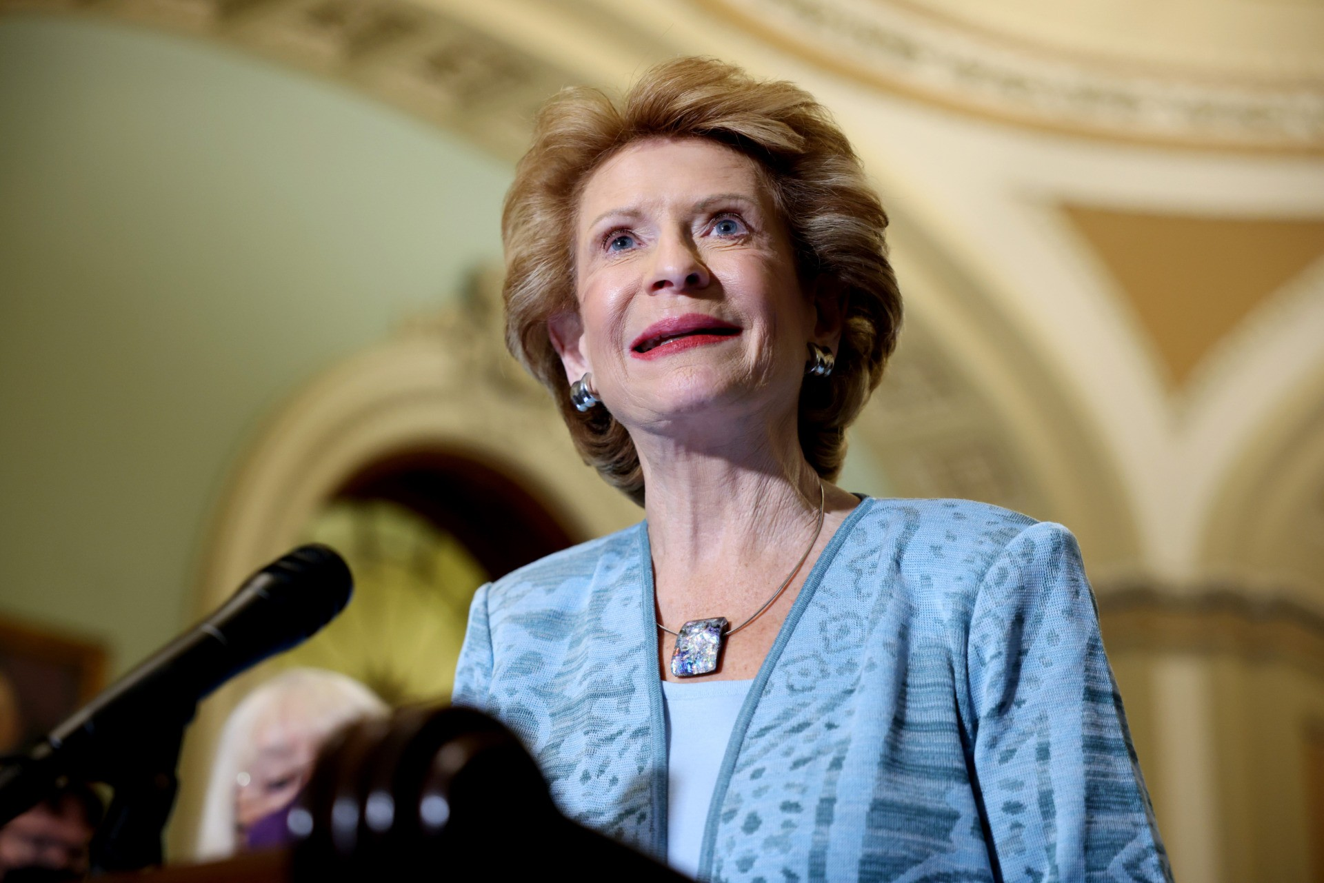 WASHINGTON, DC - AUGUST 03: Sen. Debbie Stabenow (D-MI) speaks at a news conference with Senate Democratic Leadership at the Capitol Building on August 03, 2021 in Washington, DC. The Senate has moved on to the amendments process this week for the legislative text of the $1 trillion infrastructure bill, which aims to fund improvements to roads, bridges, dams, climate resiliency and broadband internet. (Photo by Anna Moneymaker/Getty Images)