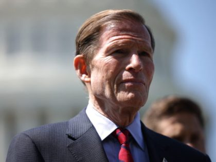 """WASHINGTON, DC - AUGUST 05: Sen. Richard Blumenthal (D_CT) speaks at a press conference on the introduction of the """"September 11th Transparency Act of 2021"""" at the Capitol Building on August 05, 2021 in Washington, DC. Sponsors of the legislation, including Sen. Robert Menendez (D-NJ) and Senate Majority Leader Chuck …"""