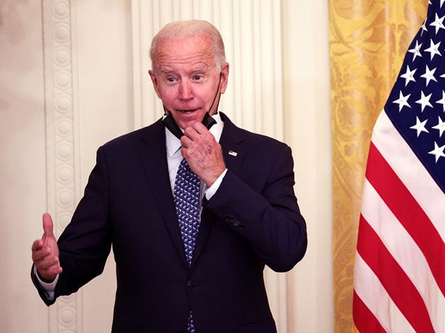 WASHINGTON, DC - SEPTEMBER 08: U.S. President Joe Biden waits to speak on workers rights and labor unions in the East Room at the White House on September 08, 2021 in Washington, DC. Biden spoke on the need to protect workers rights and the middle class. (Photo by Kevin Dietsch/Getty …