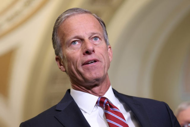 WASHINGTON, DC - SEPTEMBER 14: Sen. John Thune (R-SD) speaks to the media following a Republican policy luncheon at the U.S. Capitol on September 14, 2021 in Washington, DC. Thune spoke on the debt limit and the Afghanistan. Thune was joined by fellow Republican leaders. (Photo by Kevin Dietsch/Getty Images)