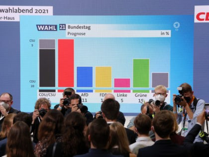 BERLIN, GERMANY - SEPTEMBER 26: Members of the German Christian Democrats (CDU) react to initial results at CDU headquarters in federal parliamentary elections on September 26, 2021 in Berlin, Germany. Voters have gone to the polls nationwide today in elections that herald the end of the 16-year chancellorship of Angela …