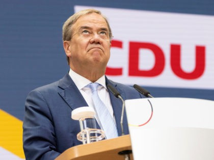 BERLIN, GERMANY - SEPTEMBER 27: Armin Laschet, chancellor candidate of the Christian Democrats (CDU/CSU) union, speaks at the press conference at CDU headquarters the day after federal elections on September 27, 2021 in Berlin, Germany. The CDU/CSU came in a close second behind the German Social Democrats (SPD), setting the …