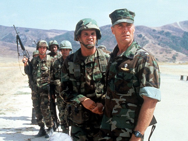 Clint Eastwood with his troops in a scene from the film 'Heartbreak Ridge', 1986. (Photo by Warner Brothers/Getty Images)