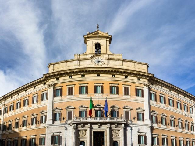 Italian parliament building in Rome in Piazza di Monte Citorio