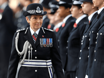 LONDON, ENGLAND - NOVEMBER 3: Metropolitan Police Commissioner Cressida Dick inspects police cadets at the Metropolitan Police Service Passing Out Parade in Hendon on November 3, 2017 in London, England. (Photo by Peter Nicholls - WPA Pool/Getty Images)