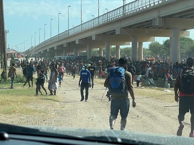 Thousand of migrants are detained under the Del Rio International Bridge. (Staff Photo: Congressman Tony Gonzales)