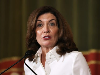 New York Gov. Kathy Hochul (D) speaks after taking her ceremonial oath of office at the New York State Capitol on August 24, 2021 in Albany, New York. (Michael M. Santiago/Getty Images)