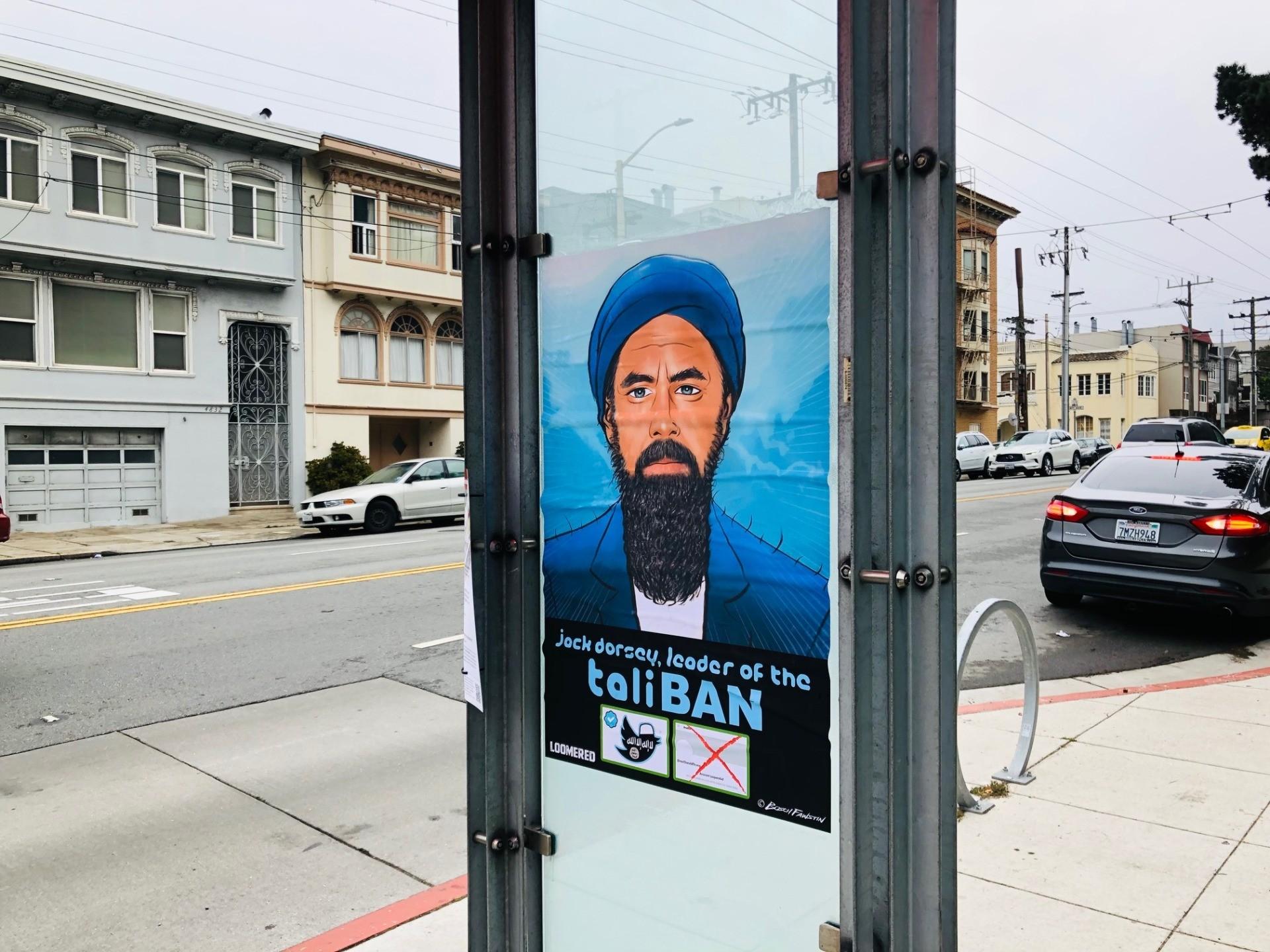 'TaliBAN:' Street Art Denouncing Twitter Censorship Covers San Francisco 2