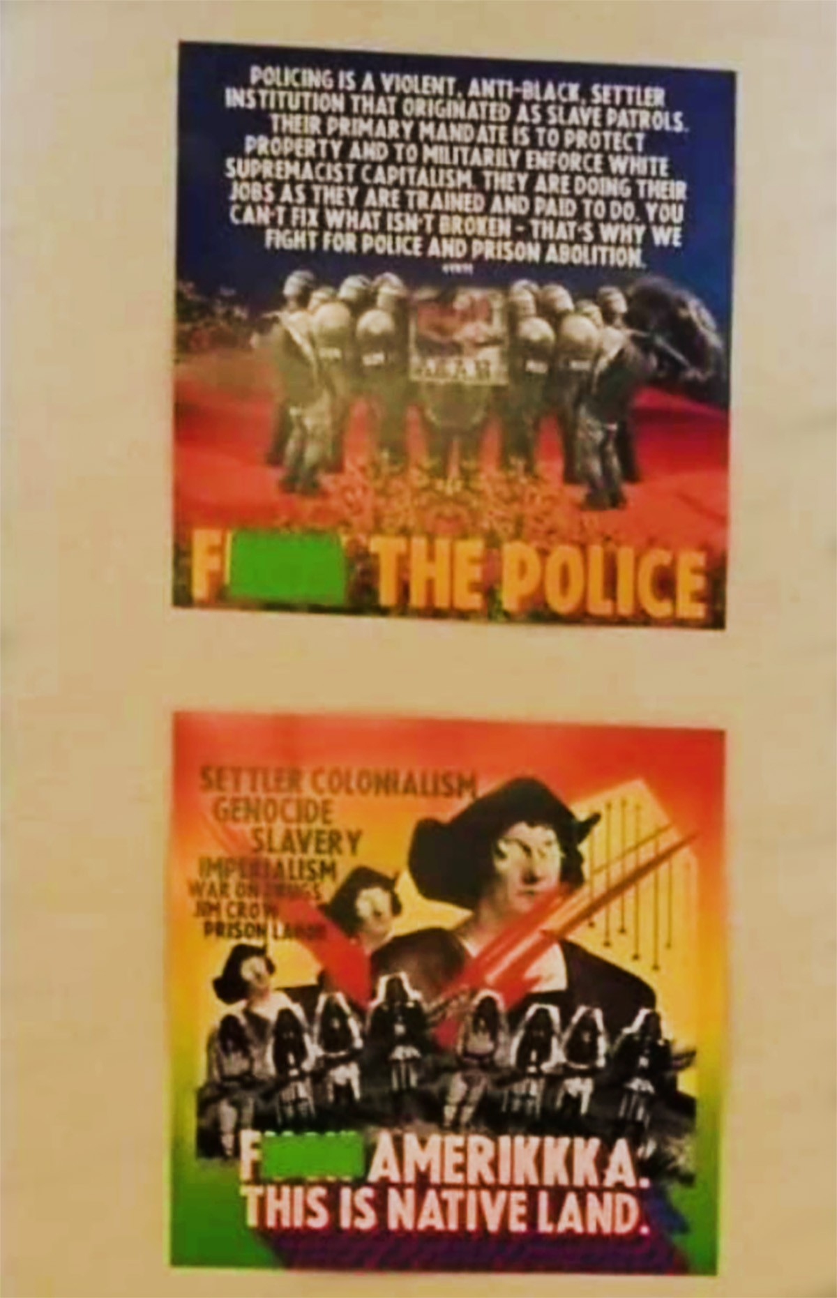 Propaganda posters on the wall of a LAUSD high school classroom. (PDE) [brightened for clarity].