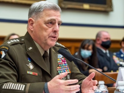WASHINGTON, DC - SEPTEMBER 29: Chairman of the Joint Chiefs of Staff Gen. Mark A. Milley testifies during a House Armed Services Committee hearing on Ending the U.S. Military Mission in Afghanistan in the Rayburn House Office Building at the U.S. Capitol on September 29, 2021 in Washington, DC. (Photo …