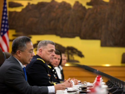 US Army Chief of Staff General Mark Milley (2L) looks on during a meeting with unseen China's People's Liberation Army (PLA) General Li Zuocheng at the Bayi Building in Beijing on August 16, 2016. / AFP / POOL / Mark Schiefelbein (Photo credit should read MARK SCHIEFELBEIN/AFP via Getty Images)