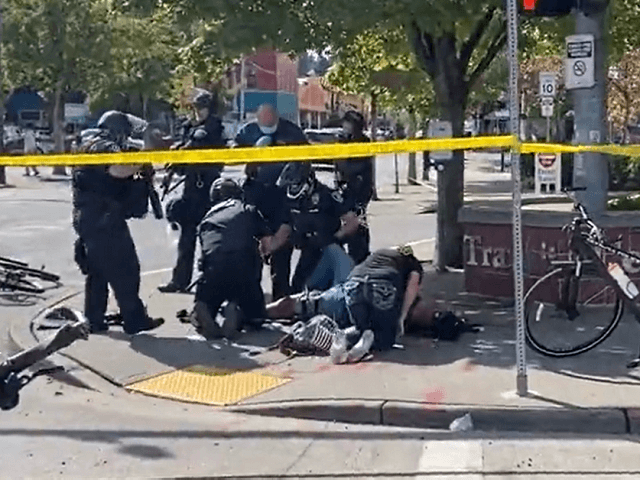 Antifa reportedly shoots a Proud Boys member during a protest in Olympia, WA. (Twitter Video Screenshot/Jeremy Lee Quinn)