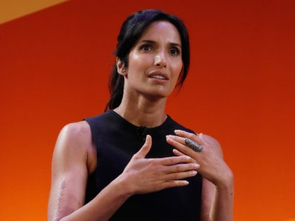 """NEW YORK, NY - SEPTEMBER 27: NY Times Best Seller, Host """"Top Chef"""" Padma Lakshmi speaks onstage at the CEO Connectors panel on the Times Center Stage during 2016 Advertising Week New York on September 27, 2016 in New York City. (Photo by John Lamparski/Getty Images for Advertising Week New …"""