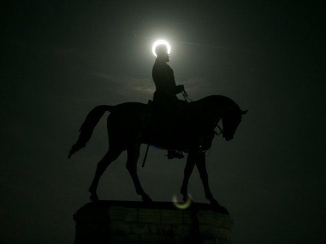 July 4, 2020; Richmond, Virginia, United States; The full moon rises behind the Robert E. Lee Monument. Mandatory Credit: Scott P. Yates/Rockford Register Star via USA TODAY NETWORK