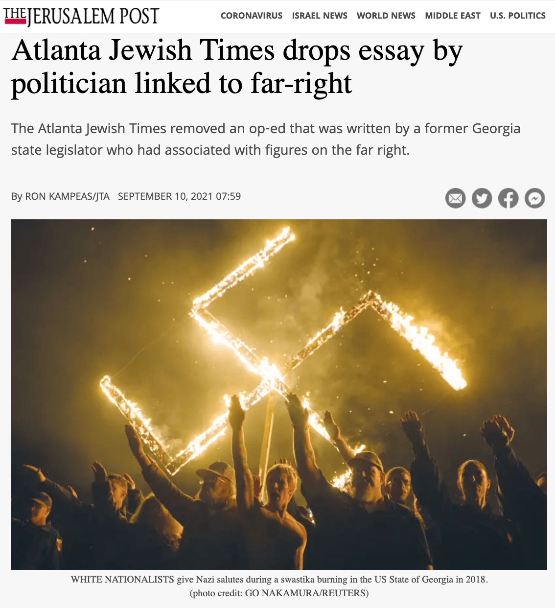Screen shot of Jerusalem Post smearing Vernon Jones with swastika (Screenshot / Jerusalem Post)