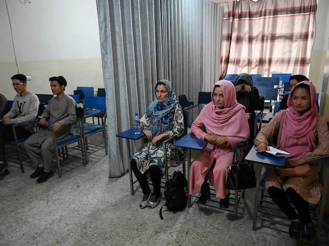 Students attend a class bifurcated by a curtain separating males and females at a private university in Kabul on September 7, 2021, to follow the Taliban's ruling. (Aamir Qureshi/AFP via Getty Images)