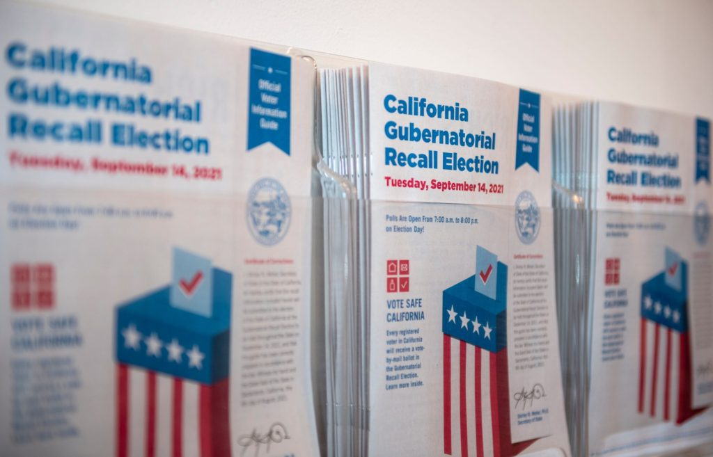 California Gubernatorial Recall Election information guides are placed inside the Monterey County Elections office in Salinas, Calif., on Thursday, Aug. 12, 2021. ( David Rodriguez/The Salinas Californian via Imagn Content Services)