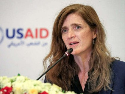 Samantha Power, Administrator of the United States Agency for International Development (USAID), speaks at a hotel in Sudan's capital Khartoum on August 3, 2021. (Photo by ASHRAF SHAZLY / AFP) (Photo by ASHRAF SHAZLY/AFP via Getty Images)