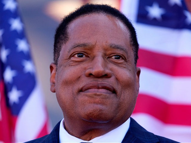 Republican gubernatorial candidate Larry Elder speaks to supporters during an Asian Rally for Yes Recall at the Asian Garden Mall in Little Saigon, Westminster, California, on September 4, 2021 - The recall election, which will be held on September 14, 2021, asks voters to respond two questions: whether Newsom, a …