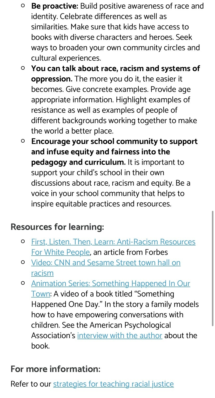 """Alexandria City Public Schools' """"Talking to your Children about Racial Justice"""" page. (Screenshot)."""