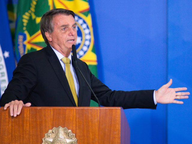 BRASILIA, BRAZIL - JUNE 29: President of Brazil Jair Bolsonaro speaks during an event to launch a new register for professional workers of the fish industry at Planalto Government Palace on June 29, 2021 in Brasilia, Brazil. Health Minister, Marcelo Queiroga,announced after the event and in conversation with journalists, that …