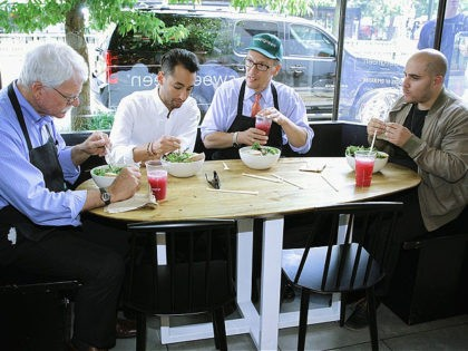 WASHINGTON, DC - JUNE 16: U.S. Labor Secretary Thomas Perez (3rd L) and Representative George Miller (D-CA) (L) eat lunch with co-founders of sweetgreen restaurant, Nicolas Jammet (R) and Jonathan Neman (2nd L), at one of sweetgreen's locations June 16, 2014 at Dupont Circle in Washington, DC. Secretary Perez and …