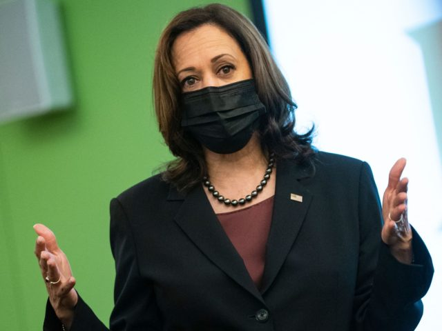 US Vice President Kamala Harris speaks to students in a political science class at George Mason University during a surprise visit to campus on September 28, 2021, in Fairfax, Virginia. - Harris visited the classroom and a voter registration table to encourage students to register to vote and to discuss …