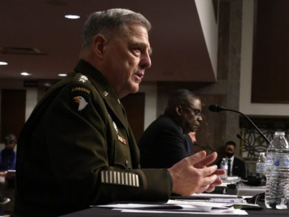 WASHINGTON, DC - SEPTEMBER 28: U.S. Secretary of Defense Lloyd Austin (R) and Chairman of the Joint Chiefs of Staff Gen. Mark Milley (L) testify during a hearing before Senate Armed Services Committee at Dirksen Senate Office Building September 28, 2021 on Capitol Hill in Washington, DC. The committee held …