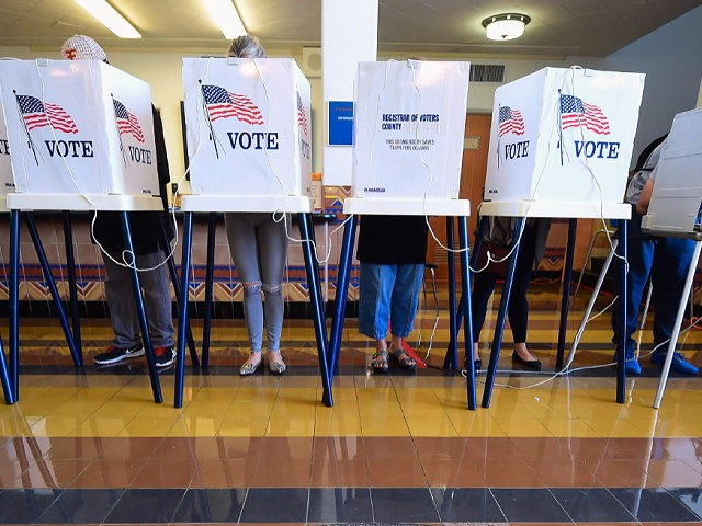 People vote on the US presidential election at Santa Monica City Hall on November 8, 2016 in Santa Monica, California. - America's future hung in the balance Tuesday as millions of eager voters cast ballots to elect Democrat Hillary Clinton as their first woman president, or hand power to the …