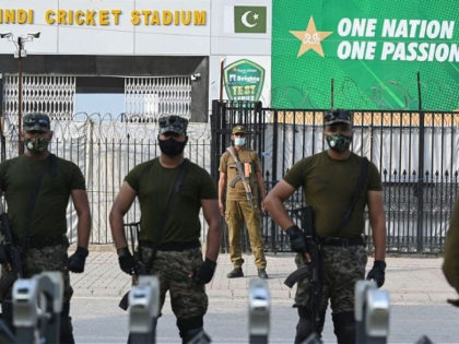 Paramilitary soldiers stand guard outside the Rawalpindi Cricket Stadium in Rawalpindi on September 17, 2021, after New Zealand postponed a series of one-day international (ODI) cricket matches against Pakistan over security concerns. - (Photo by Aamir QURESHI / AFP) (Photo by AAMIR QURESHI/AFP via Getty Images)