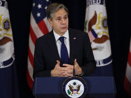 Secretary of State Antony Blinken speaks during a 9/11 commemoration event to mark the 20th anniversary of the Sept. 11, 2001 attacks, at the State Department in Washington, Friday, Sept. 10, 2021. (Evelyn Hockstein/Pool via AP)