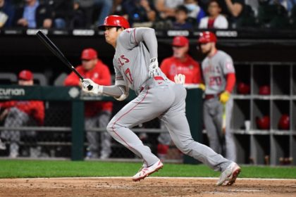 Los Angeles Angels star Shohei Ohtani takes off for first after hitting into a ground out against the Chicago White Sox